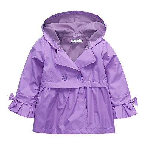 Arshiner Little Kids Girls Hooded Trench Coat Jacket Waterproof Raincoat Outwear Purple