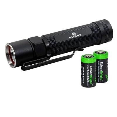 Olight S20 Baton XM-L 470 Lumens LED Flashlight with two EdisonBright CR123A Lithium Batteries