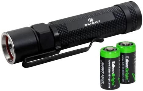 EdisonBright Olight S20 L2 Baton XM-L2 550 Lumens LED Flashlight with two CR123A Lithium Batteries