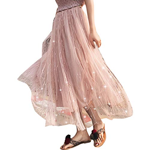 (Women Summer Mesh Tutu Skirt,Womens Sexy Elastic High Waist Pleated Flared Long Maxi Skirt Elegant Beach Party Clubwear (Pink, Waist:58CM-88CM/22.83''-34.64''))