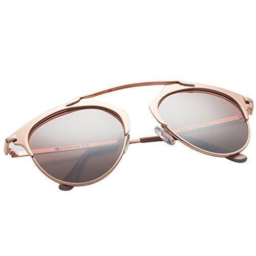 VIVIENFANG Pantos Shape Metallic Mirrored Lens Polarized Aviator Sunglasses For Unisex 86595B Rose - Metallic Sunglasses Gold Rose