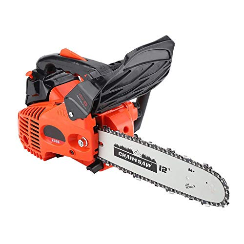 "25.4CC 12"" Gas Powered Chainsaw, Professional Handheld Gasoline Chainsaw Wood Cutting Grindling Machine with Tool Kit"