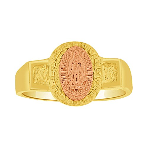 14k Yellow & Rose Gold, Small Baby Child Kid Ring Religious Virgin Mary Design by GiveMeGold