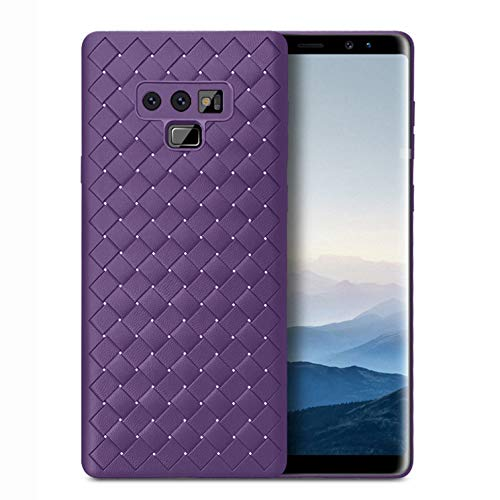 Samsung Galaxy Note9 Case, Leather Soft TPU Silicon Weave Pattern Matte Cover Case (Purple) ()
