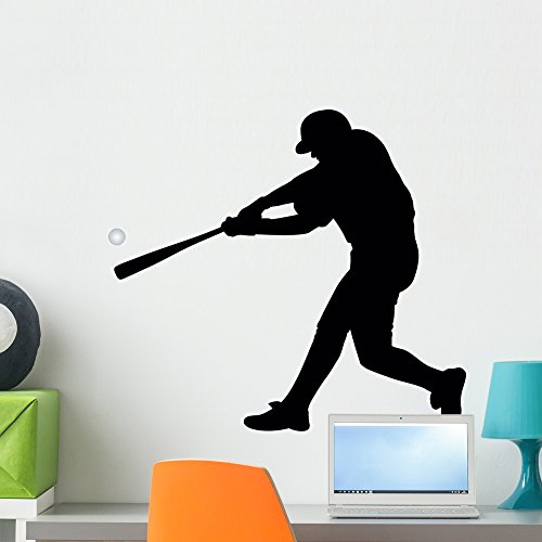 Baseball Silhouette Wall Decal by Wallmonkeys Peel and Stick Graphic (24 in W x 22 in H) WM47004 ()