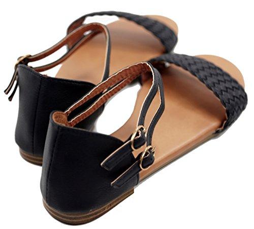 8 Jade BellaMarie Sandals Tevo Buckle Footwear Basic Strap Flat Comfort Black Ankle Braided wHxHB