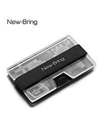 newbring minimalista titular de la tarjeta de crédito–Bolsillo Frontal Ultralight acrílico Slim Wallet Money Clip, Negro
