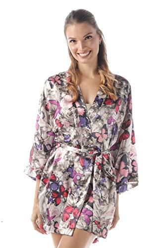 Silk Robe Butterfly - momomio Short Silk Satin Robe for Women Floral Animal Print Loungewear Sleepwear (S, Gray Butterfly)