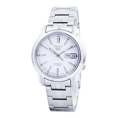 Seiko Automatic White Dial Stainless Steel Mens Watch SNKL75