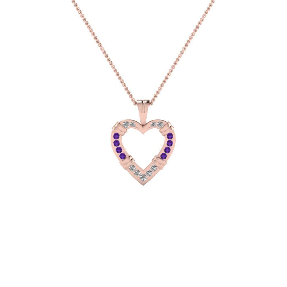 Ringjewels Heart Pendant W// 18 Chain Necklace 0.68 Ct Round Amethyst /& Sim Diamond 14K Gold Plated 925