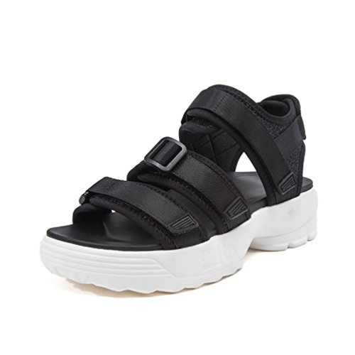 élastique Talon Antidérapantes Sports Noir Sandales Tissu de Plateforme Loisir Chaussures Femme xHw8q4Yf