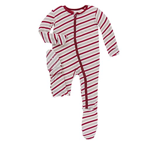- Kickee Pants Holiday Footie with Zipper - Rose Gold Candy Cane Stripe - 9-12 Months