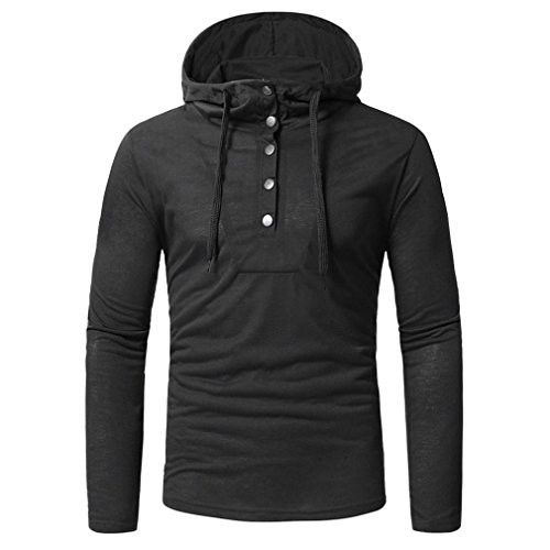 Clearance Sale Men Hoodie T Shirts vermers Fashion Men's Autumn fastener Long Sleeve Sweatshirts Tops(M, Black) by vermers
