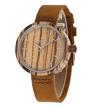 Fashion Watches Relojes Hermosos, Mujer Reloj de Moda Reloj Madera Japonés Cuarzo de Madera Cuero Auténtico Banda Encanto Casual Marrón (Color : Madera): ...
