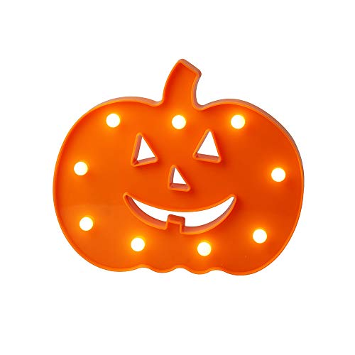 LED Pumpkin Night Light with 9 LED Bulbs, Battery Operated, Jack-O-Lantern for Children, Halloween, House, Party Decoration -
