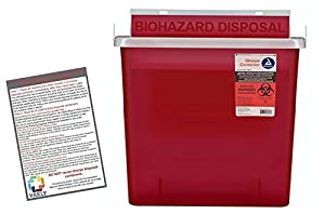 Sharps Container 5 Quart with Mailbox Style Lid - Plus Vakly Biohazard Disposal Guide