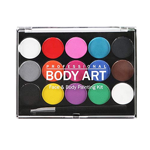 MUIIGOOD Face Body Paints Kits,Safe Non-Toxic Water Based Professional Palette Washable for Kids,Art Party/Thanksgiving/Cosplay/Christmas/Halloween Makeup Paint Supplies -15 Colors with Two Fine Brush -