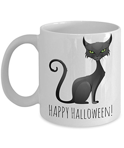 Motivation Happy Halloween Ghost Morning Lunch Dinner Cocoa Mug - Funny Sayings Cup - Happy Halloweenie Gift for Boys & Girls - Chocolate, Cookies, Candy Cane Mug For Children - Holiday 2016 2017 Mugs