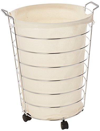 08 Steel Canvas Rolling Laundry Hamper, Chrome ()