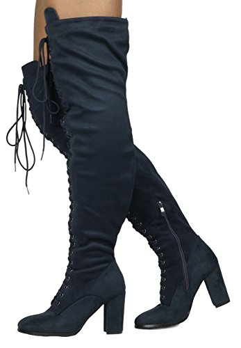 - DREAM PAIRS Women's Hi-Lace Dark Blue Faux Suede Over The Knee Thigh High Boots Size 6.5 M US