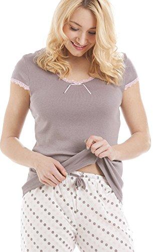 Pijama ligero - Mezcla de algodón - Lunares - Marrón grisáceo Marron