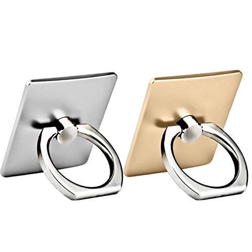 2 Pack Finger Ring Stand 360 Degree Rotation Thin Universal Phone Ring Holder Kickstand Compatible with iPhone Xs,XS MAX, X, 8/8 Plus,7/7 Plus£¬6/6S,5 SE,iPad, HTC Nokia Other Smartphones-Silver+Gold
