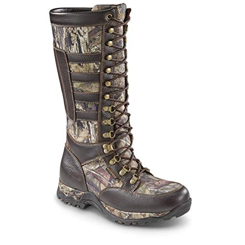 Guide Gear Men's Leather Snake Boots, Waterproof, Side Zip, Brown/Mossy Oak Break-Up Country, 14D (Medium)
