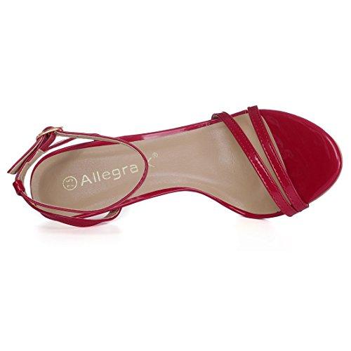 Aperta 9 Caviglia Rosso Sandali K Tacco Stiletto 5 Donne US Cinturino Punta Allegra Abito wx67tzq0x