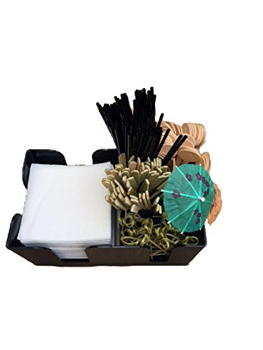 4in 500 Straws - Perfect Bar Kit 6, 6 compartment bar caddy including 500 white napkins, 144 parasol picks, 100 4