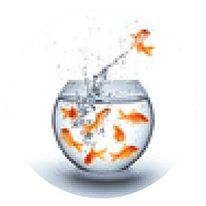 alfombrilla de ratón pez de colores saltando fuera del agua - concepto de mejora - blanco - ronda - 20cm