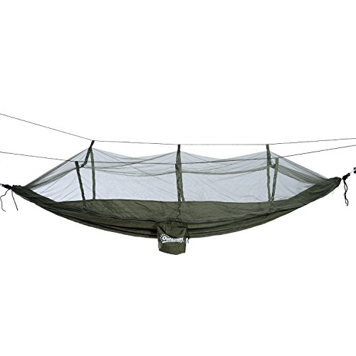 Hunter Green Swivel Bar Stool - Hanging Hammock Bed Covered Mosquito Net Outdoor Camping Hiking Beach with ebook