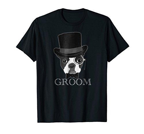 Boston Terrier Shirt Groom Wedding Top Hat Tee for Men