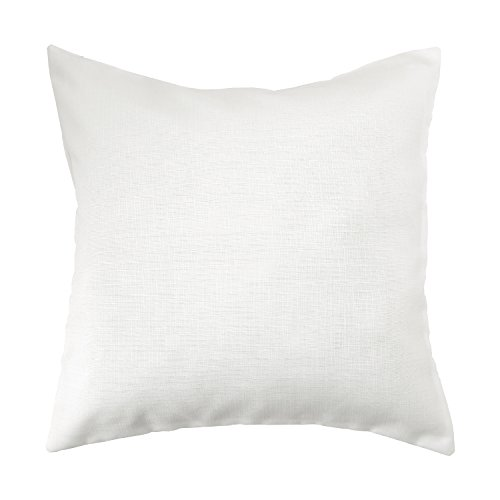 Deconovo Soft Cushion Cover Faux Linen Pillow Cover Throw Pillow Case for Couch 18x18 Inch Off White 1 PCS (CASE ONLY, NO INSERT)