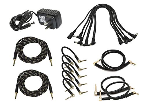 Monoprice Guitar Pedal Audio and Power Accessory Pack   9V Power Supply, 8-Head Multi-Plug Daisy-Chain Cable - Stage Right Series