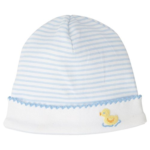 Mud Pie Classic Layette Baby Boy French Knot Duck Cap Hat Blue -