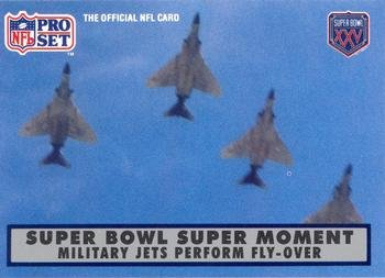 Super Bowl Super Moment football card (Military Jets Fly Over Orange Bowl) 1990 Pro Set #137 from Autograph Warehouse