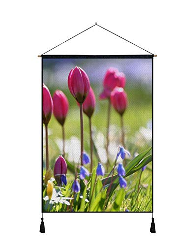 PUPBEAMO PRINTS Wall Art Scroll Poster - Tulips Flowers Bells Sharpness Grass - Art Print On Canvas Wall Hanging Picture for Home Decoration 24x32 - Flower Bell Tulip