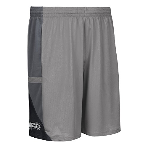 fan products of NBA San Antonio Spurs Men's Tip-Off Mesh Shorts, X-Large, Grey