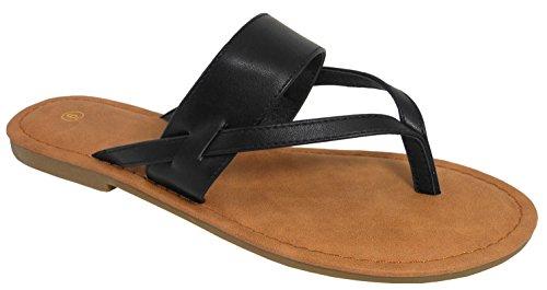 Cambridge Select Women Strappy String Flip-flop Slip-on Platte Slide Sandaal Zwart