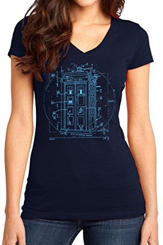New York Fashion Police Time Lord Vitruvian Police Box Sci-Fi Shirts For Women Navy (Rib Side Box)