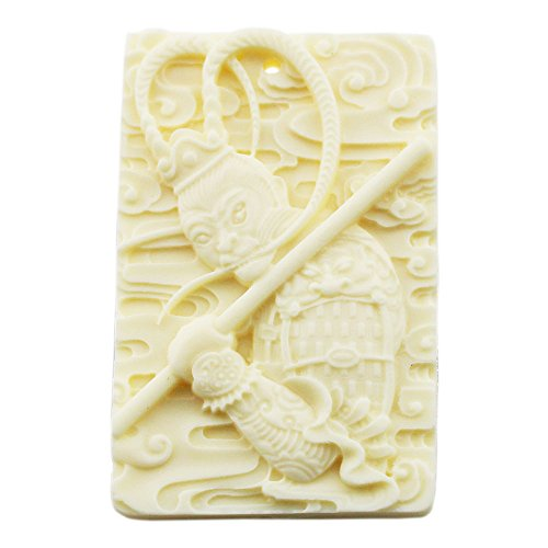 FOY-MALL Imitation Ivory Chinese Characters Monkey King Sun Wukong Pendant (80's Halloween Costume Diy)