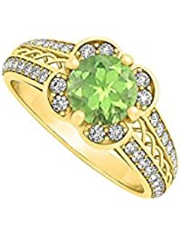 Peridot August Birthstone with Cubic Zirconia Fancy Criss Cross Fashion Ring