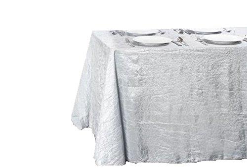 LinenTablecloth Rectangular Crinkle Taffeta Tablecloth, 90 x 156, Silver