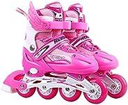 JQAM Kids Inline Skates Sets with Light Up Wheels,Inline Roller Skates Adjustable with ABEC 7 Carbon Bearing,R