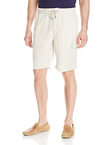 Cubavera Men's Elastic Drawstring Cargo Short, Natural Linen, Large Cubavera Linen Pants