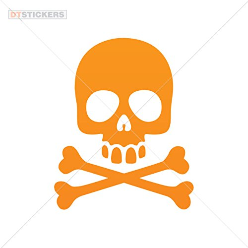 Hobby Vinyl Decal Skull Skulls Crossbones hobby decor (4 X 3,24 In. ) Orange