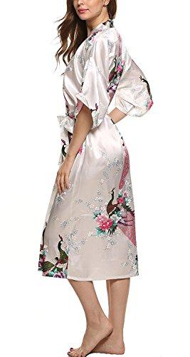 Minetom Mujer Albornoz Satén de Estampado Floral Ligera Bata Pijama Lencería Kimono Largo Ropa de Dormir Blanco