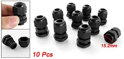 uxcell 10 Pcs PG11 Waterproof IP68 Nylon Cable Gland Joint Adjustable Locknut for 5mm-10mm Dia Cable Wire a16101800ux0308