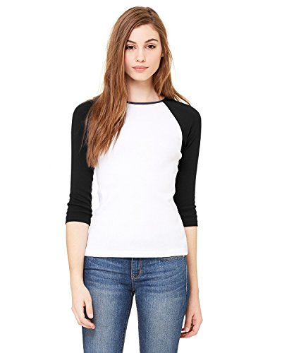 Bella + Canvas Ladies Baby Rib 3/4-Sleeve Contrast Raglan T-Shirt - WHITE/ BLACK - S - (Style # B2000 - Original Label)