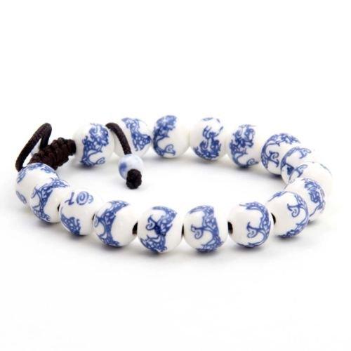 - Gozebra(TM) Happy Lucky Dragon Design Porcelain Tibet Buddhist Prayer Beads Mala Bracelet